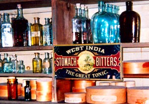 Antique Bottles on Shelf